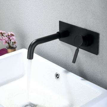 retro waschtischarmatur schwarz einhandmischer 2 loch wandmontage. Black Bedroom Furniture Sets. Home Design Ideas