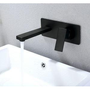 Waschtischarmatur Einhandmischer Wandmontage Schwarz