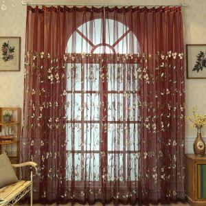Gardine Europäische Stil Lilien Design im Wohnzimmer (1er Pack)