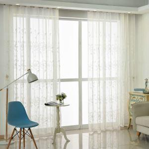 Moderne Gardine Blumenranke Design Weiß aus Leinen (1er Pack)