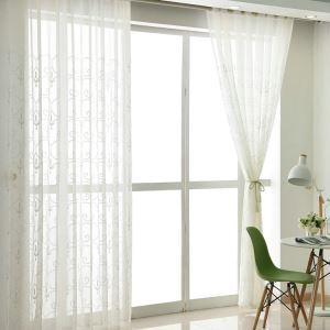Moderne Gardine Weiße Blumenranke Design im Schlafzimmer (1er Pack)