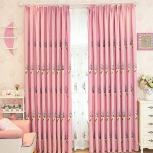Moderner Vorhang Lavendel Design aus Leinen im Schlafzimmer (1er Pack)