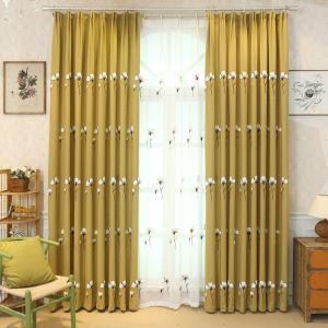 Vorhang Modern Baumwolle Design aus Leinen im Wohnzimmer (1er Pack)