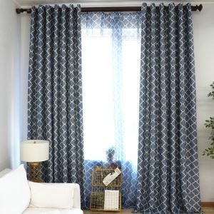 Vorhang Modern Raute Design aus Polyester im Schlafzimmer (1er Pack)