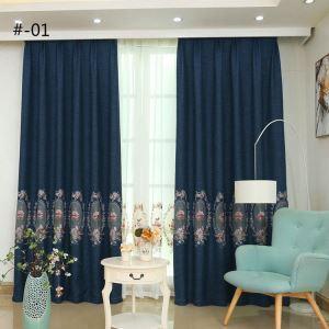 Moderner Vorhang Pfingstrosen Design aus Leinen im Wohnzimmer (1er Pack)