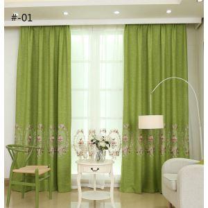 Vorhang Pfingstrosen Design aus Leinen im Schlafzimmer (1er Pack)