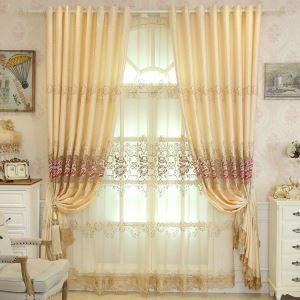 Vorhang Pfingstrosen Design aus Leinen im Wohnzimmer (1er Pack)