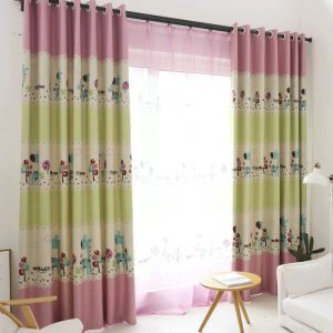 Moderner Vorhang Cartoon Giraffe Design aus Polyester im Kinderzimmer (1er Pack)