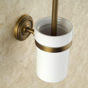 WC Bürstenhalter Antik Messing im Badezimmer