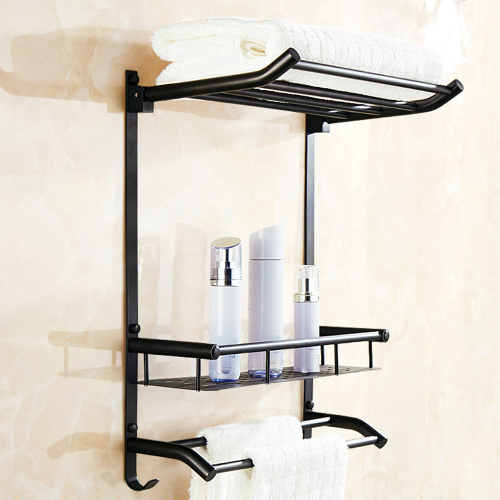 handduchhalter mit haken dreifach aus messing schwarz. Black Bedroom Furniture Sets. Home Design Ideas