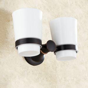 Zahnputzbecherhalter Doppelt Becher Retro Stil Schwarz im Badezimmer