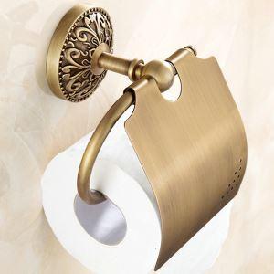 Toilettenpapierrollenhalter mit Deckel Antik Messing im Badezimmer
