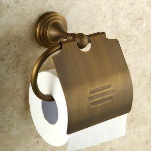 WC Papierrollenhalter mit Deckel Antik Messing im Badezimmer