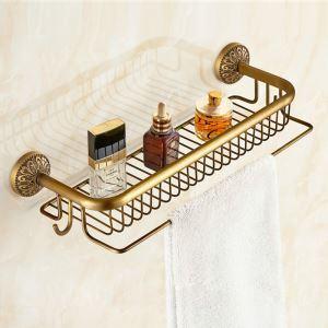 Duschkorb mit Handtuchhaken Antik Messing im Badezimmer