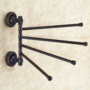 Handtuchstange Drehbar 4-armig aus Messing Schwarz im Badezimmer