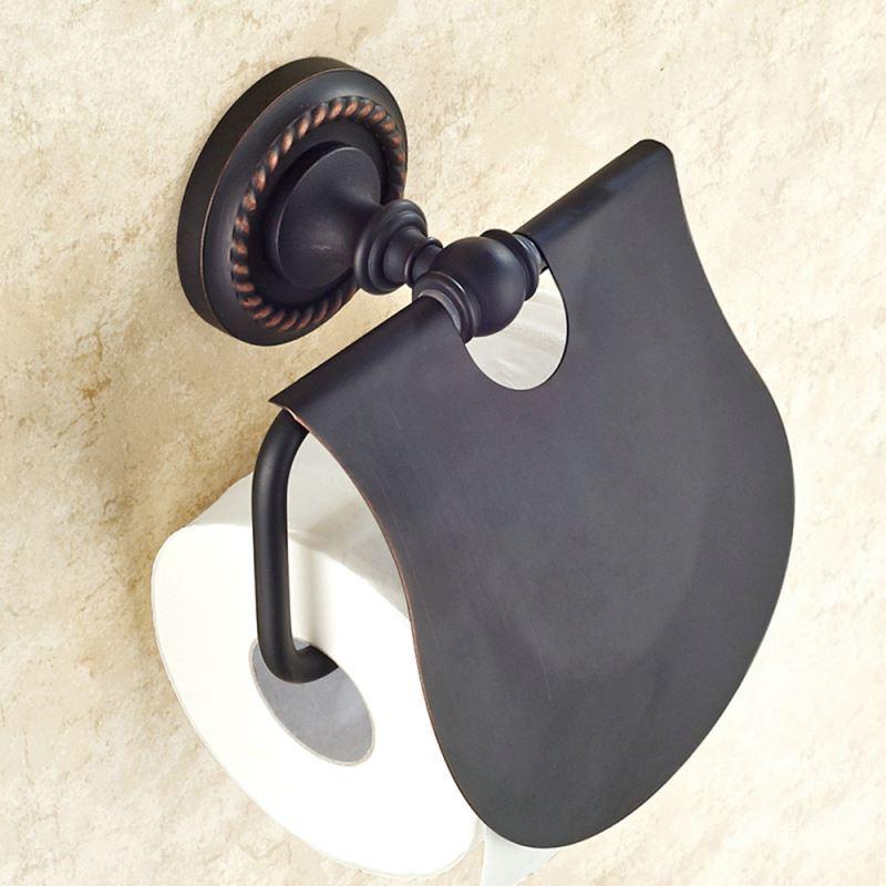 Toilettenpapierrollenhalter bad aus messing schwarz bad for Bad accessoires messing