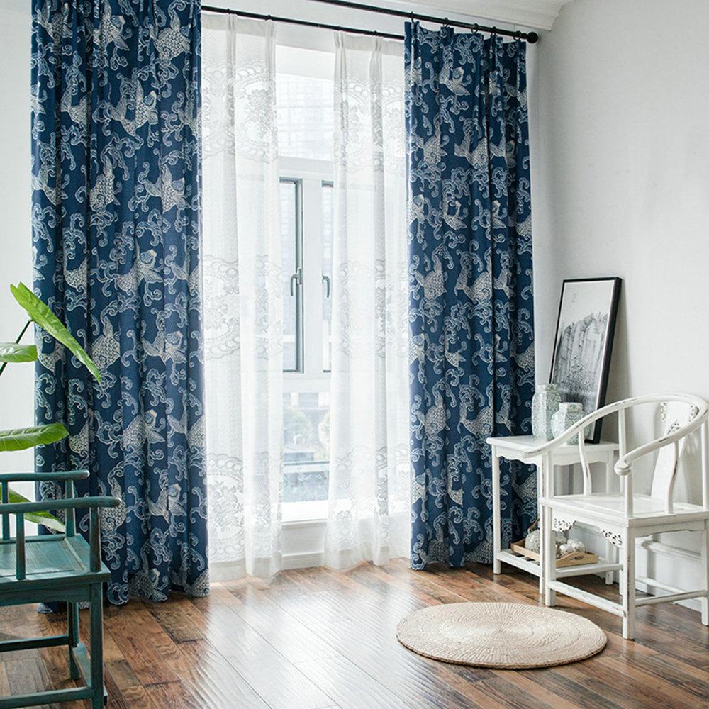 Vorhang Modern Welle Design Blau Im Wohnzimmer
