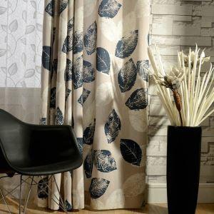 (1er Pack) Vorhang Landhaus Stil Blätter Design aus Leinen