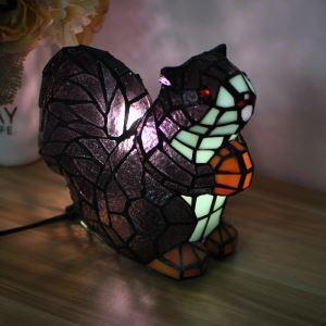 Tischlampe Tiffany Stil Eichhörnchen Design Nachtlicht im Schlafzimmer