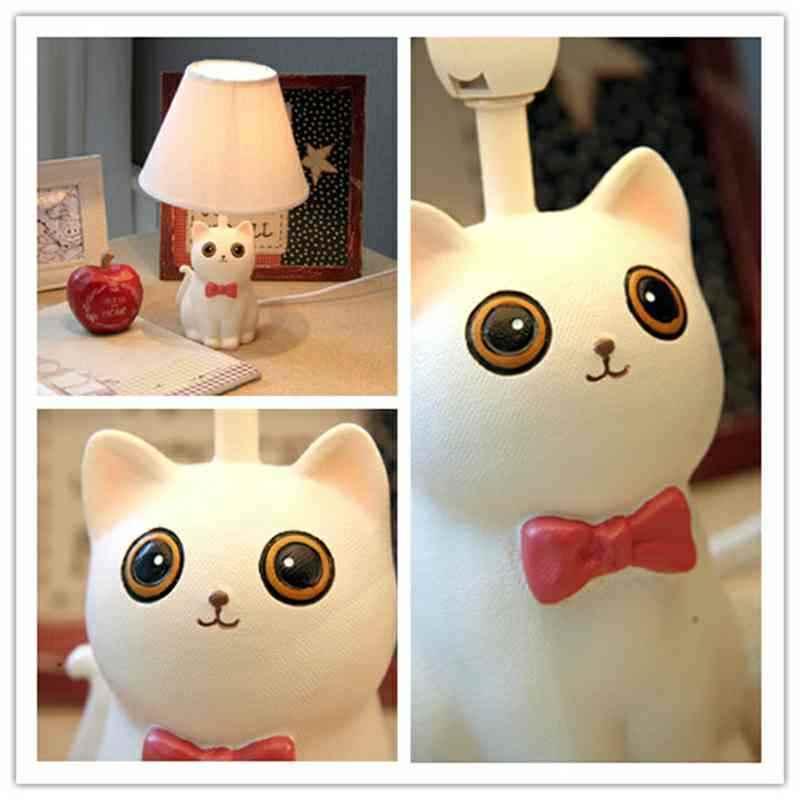 Tischleuchte Cartoon Katze Design mit Stoff Schirm
