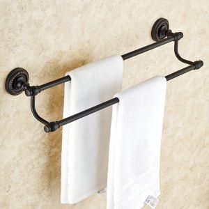 Handtuchstange Doppelt Bad aus Messing Schwarz Bad-Accessoires
