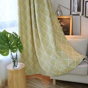 Moderner Vorhang Raute Jacquard Design Gelb im Wohnzimmer