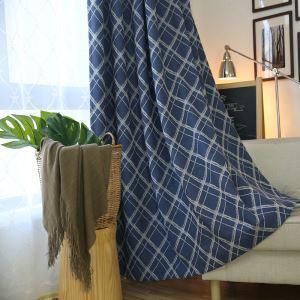 Moderner Vorhang Raute Jacquard Design Blau im Wohnzimmer