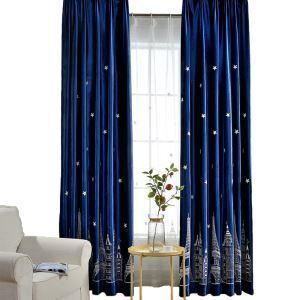 Minimalismus Vorhang Blau Flanell im Kinderzimmer