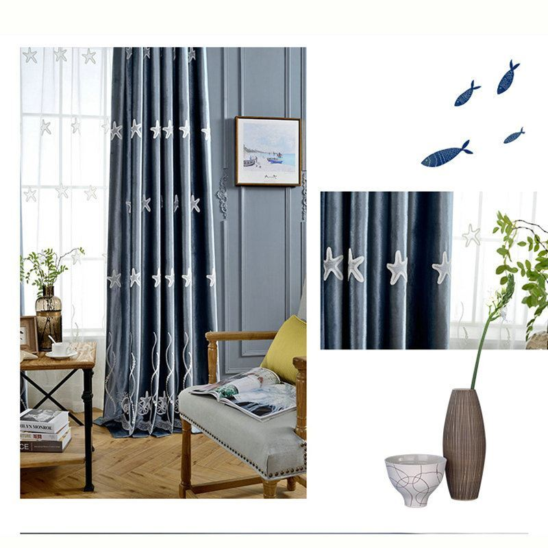 Minimalismus Vorhang Seestern Design Blau Rosa im Kinderzimmer