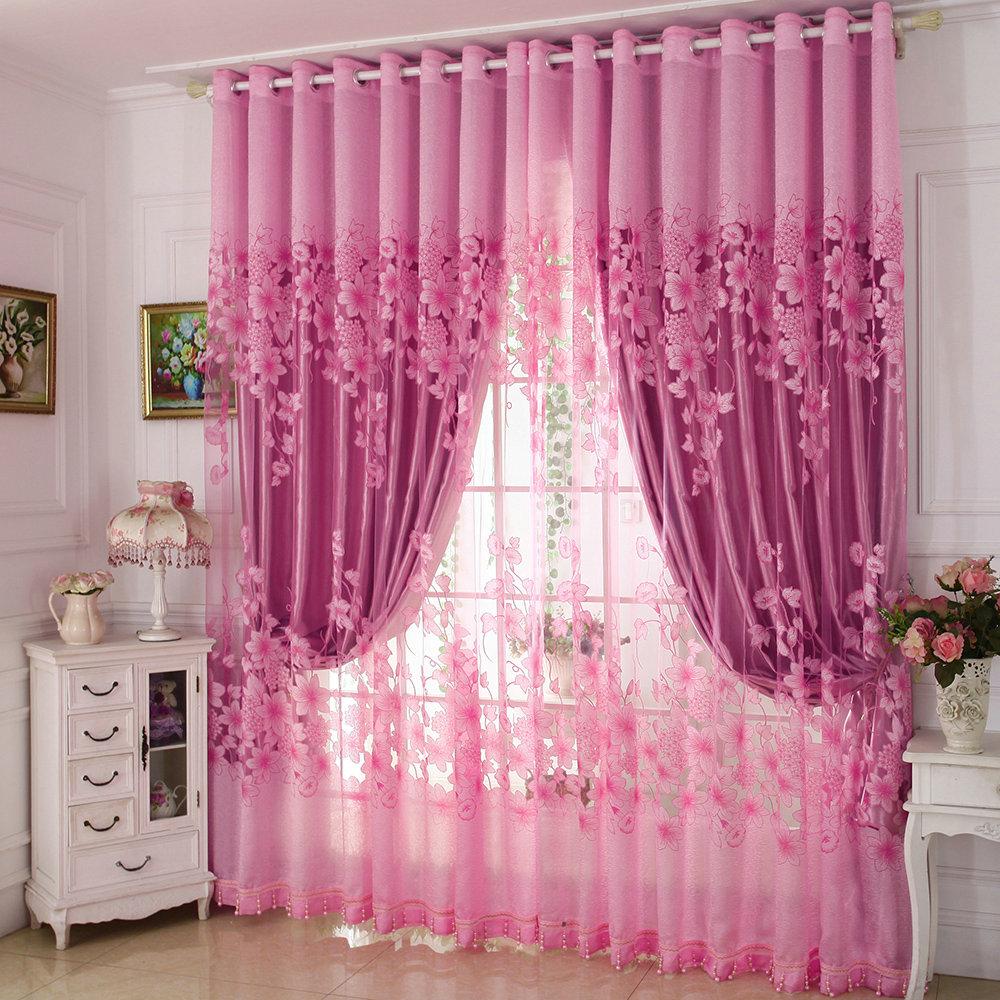 Moderne Gardine Rosa Jacquard Design Im Schlafzimmer