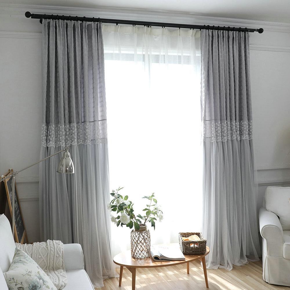 Moderner vorhang grau jacquard im wohnzimmer - Vorhange wohnzimmer grau ...