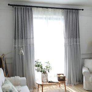 Moderner Vorhang Grau Jacquard im Wohnzimmer
