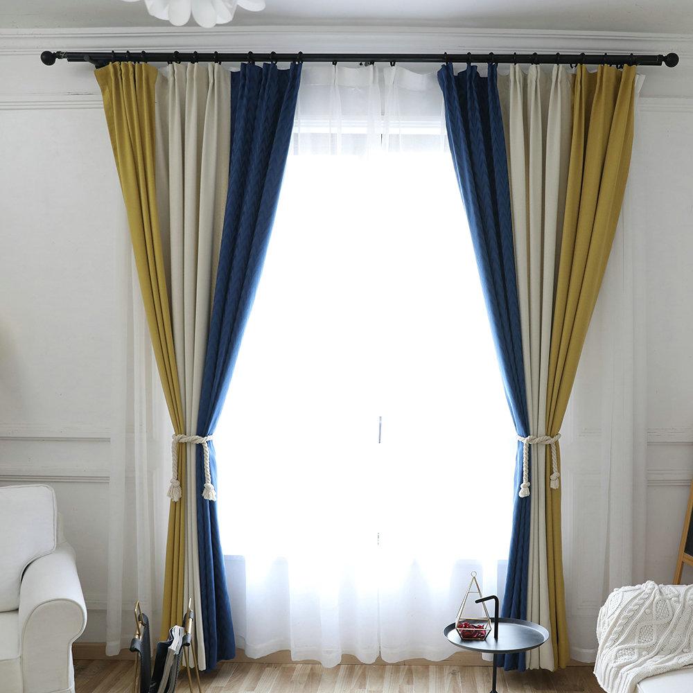 Moderner Vorhang Minimalismus Blau Beige Gelbe im Wohnzimmer