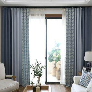 Moderner Vorhang Blau Wellen Jacquard im Wohnzimmer