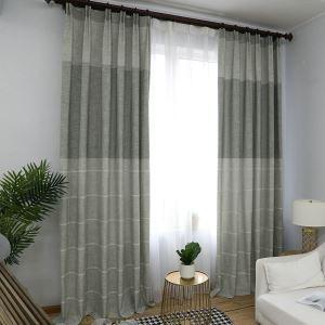 Minimalisimus Vorhang Hellgrau Jacquard im Wohnzimmer