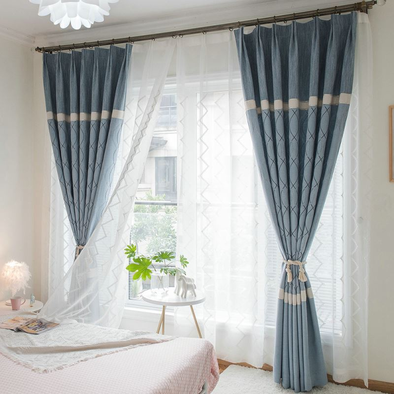 Moderner Vorhang Minimalismus Blau Jacquard Im Schlafzimmer
