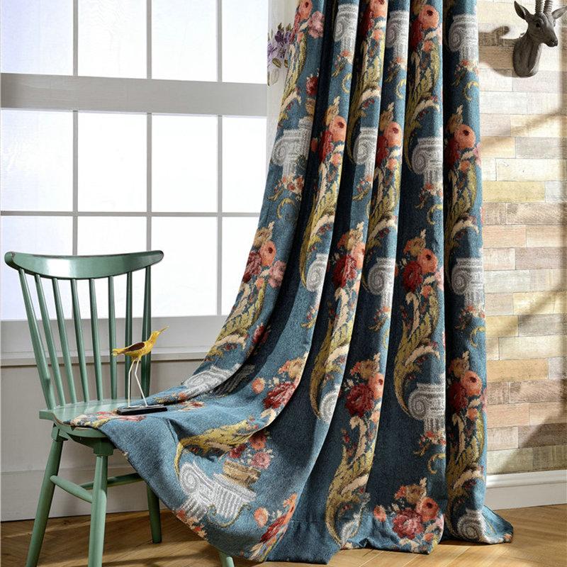 Luxus Vorhang Landhaus Blau Blumen Jaquard Im Schlafzimmer