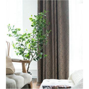 Minimalismus Vorhang Modern Braunes Grün Linien Jaquard im Wohnzimmer