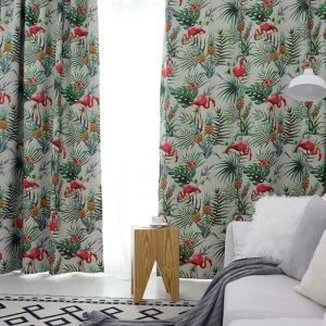 Moderner Vorhang Flamingo Muster Design im Kinderzimmer