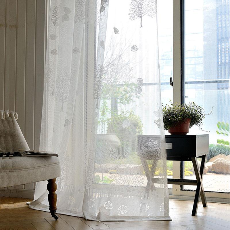 Minimalismus Gardine Weiß Blätter Jacaquard im Schlafzimmer