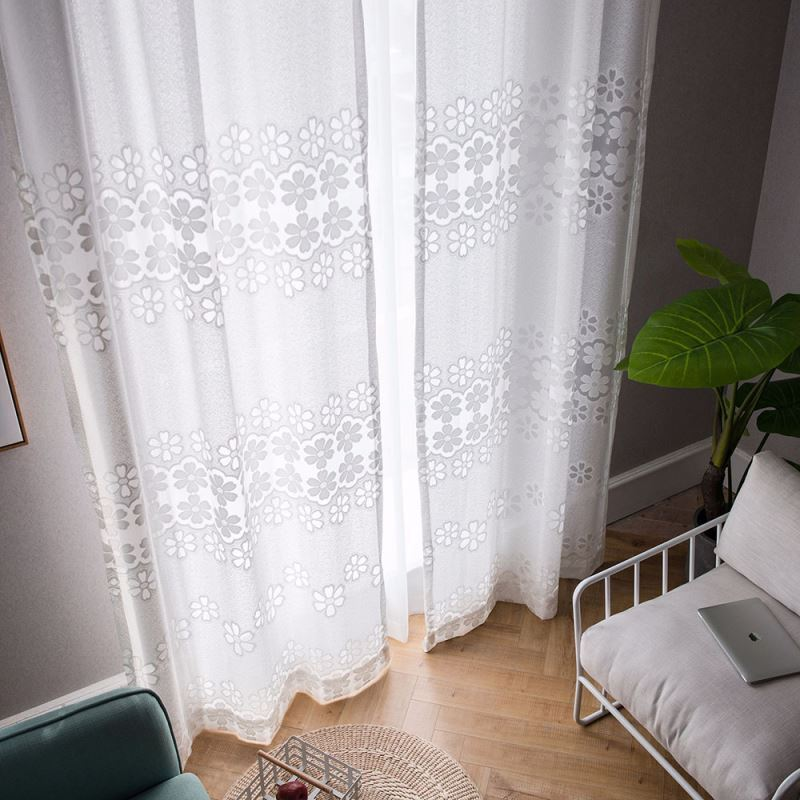 Minimalismus Gardine Weiß Blumen Jacaquard im Schlafzimmer