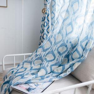 Minilalismus Gardine Blau Geometrie im Schlafzimmer