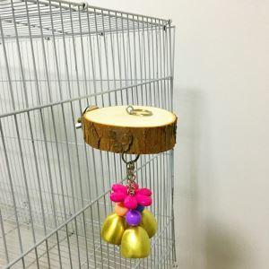 Holzplattform mit Kauspielzeug Glöckchen für Papageien Vögel