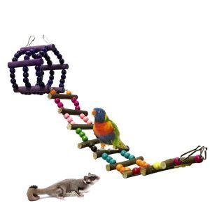 Holzleiter für Papageien Hamster Klettern Spielzeug