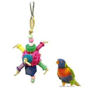 Rattan Kauspielzeug Kugel Bunt für Vögel Papageien