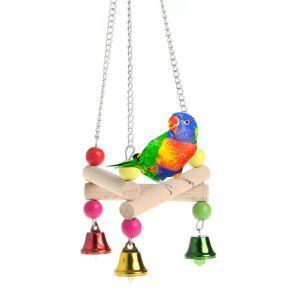 Holzschaukel mit Glöckchen für Papageien Vögel Spielzeug