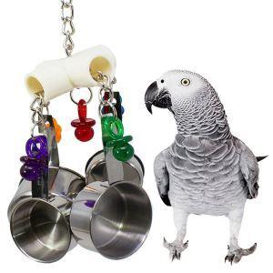 Kauspielzeug für Papagei mit Edelstahl Topf