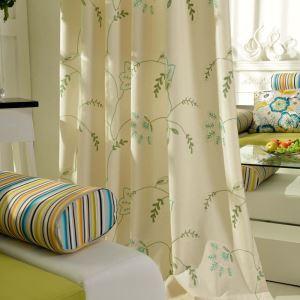 Minimalismus Vorhang Grün Beig Blumen Zweig im Wohnzimmer
