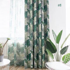 Landhaus Vorhang Grün Blätter im Wohnzimmer