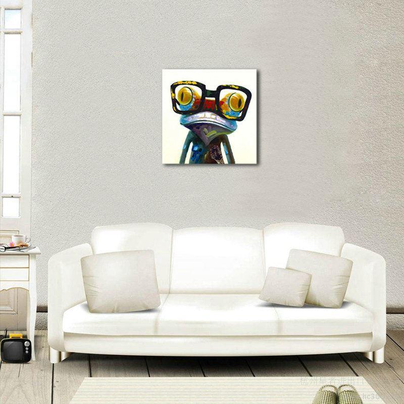 moderne wandbilder deko ohne rahme frosch f r wohnzimmer. Black Bedroom Furniture Sets. Home Design Ideas